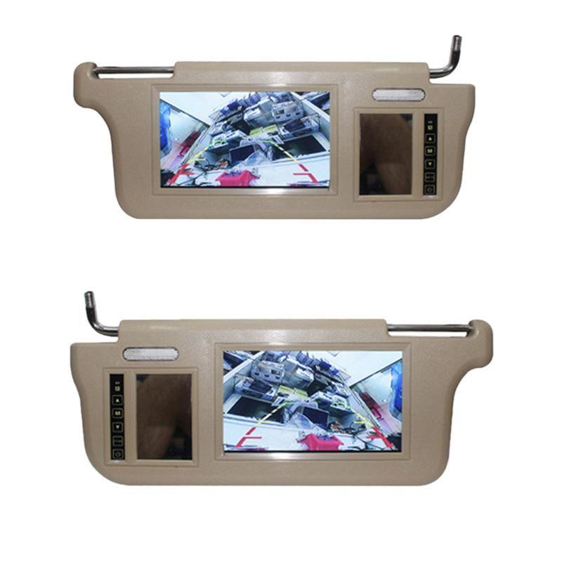 Pulgada Coche Sun Visor Mirror Pantalla LCD Monitor DC 12V Beige Interior para AV1 AV2 Player Cámara Video