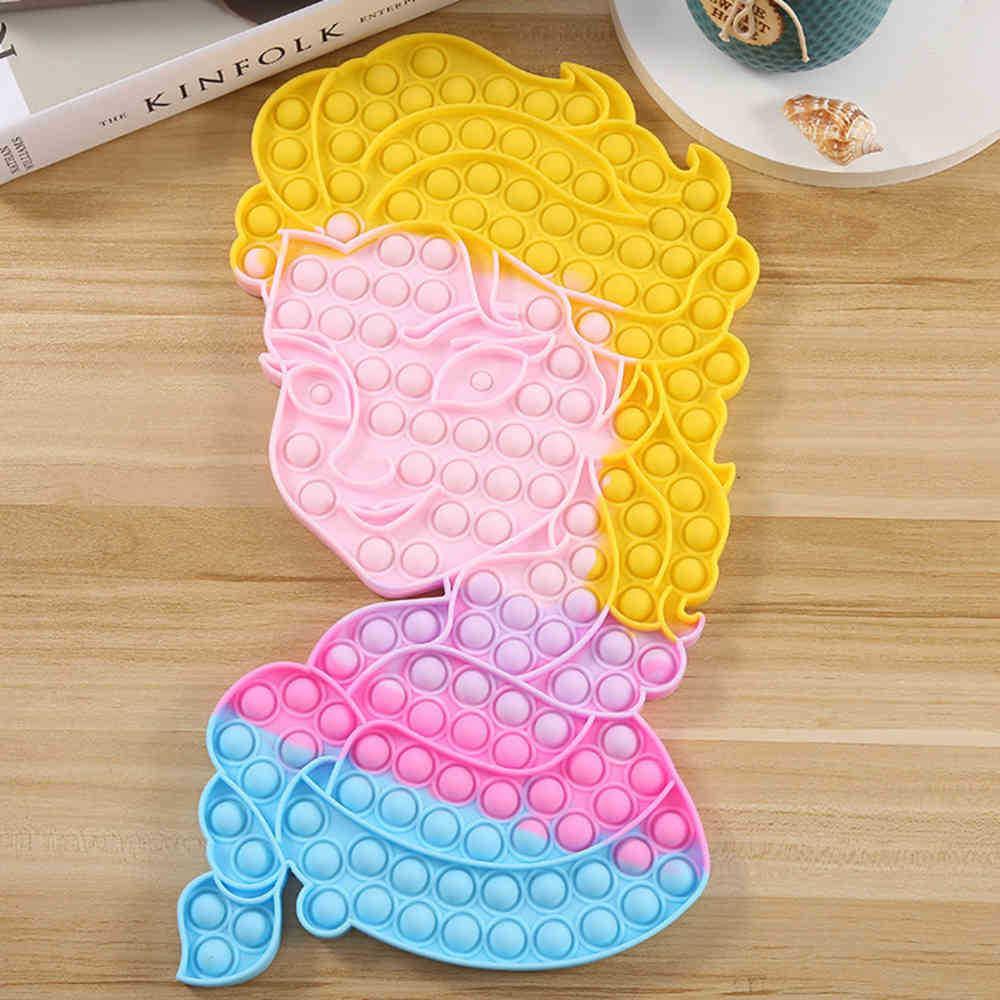 Rainbow Bubble Fidget Toys Large Princess Forma Puzzle Push Poppers Autismo Alivio Alivio Juguete Juego Silicón Tablero Tablero de ajedrez Juguete G83VVFC