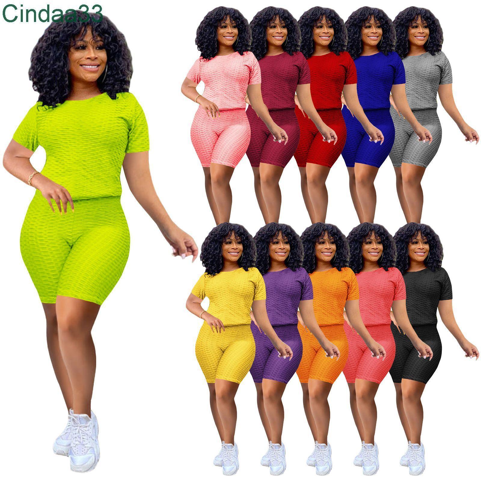 2021 Yaz Kadın Eşofman 2 Adet Yoga Kıyafetler Tasarımcı Kısa Kollu T-shirt Şort Katı Renk Spor Joggers Suit Giysileri Artı Boyutu