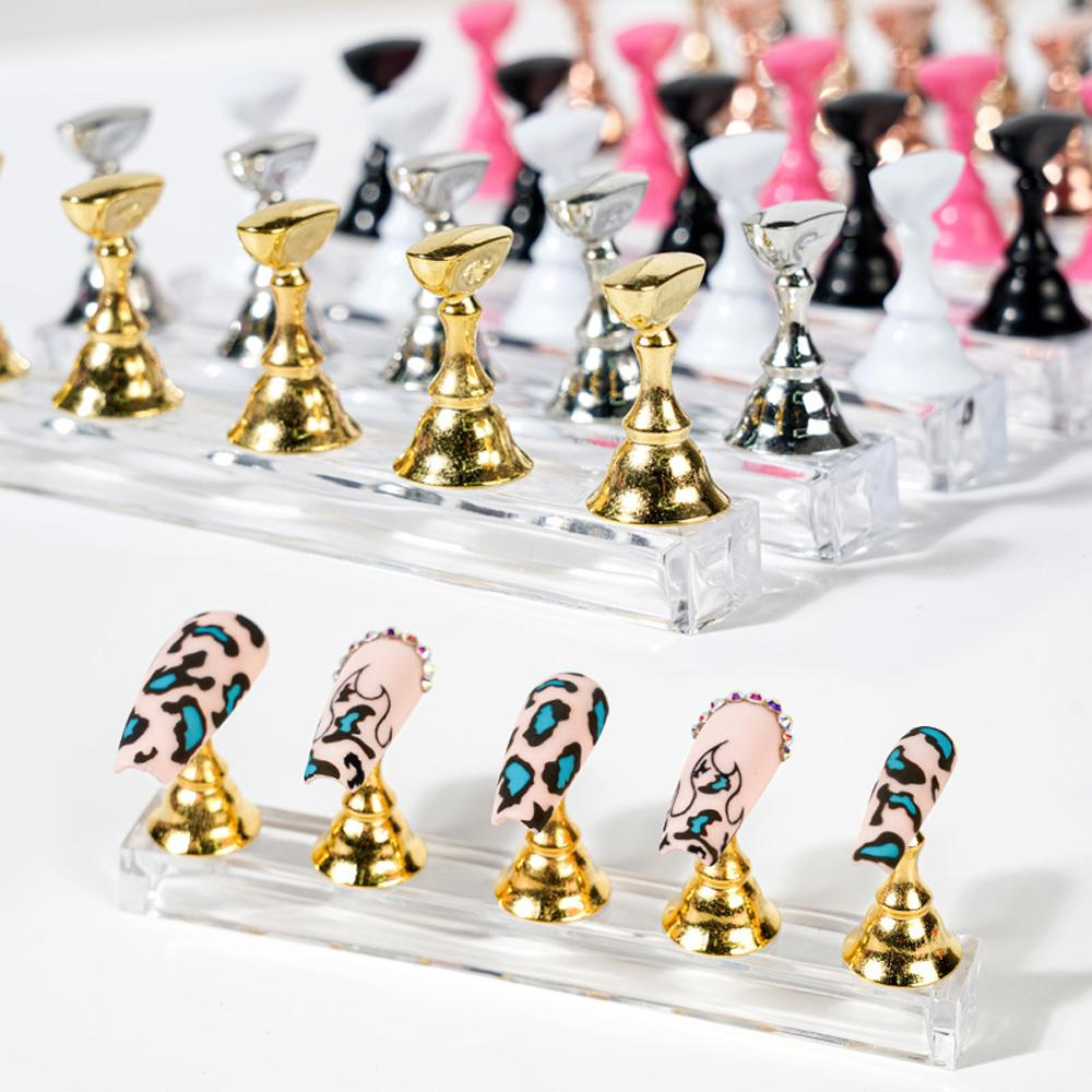 Magnetic Nail Holder Practice Training Showing Shelf Acrylic Stand Alloy Armor False Nails Tips Gel Polish Manicure Tools