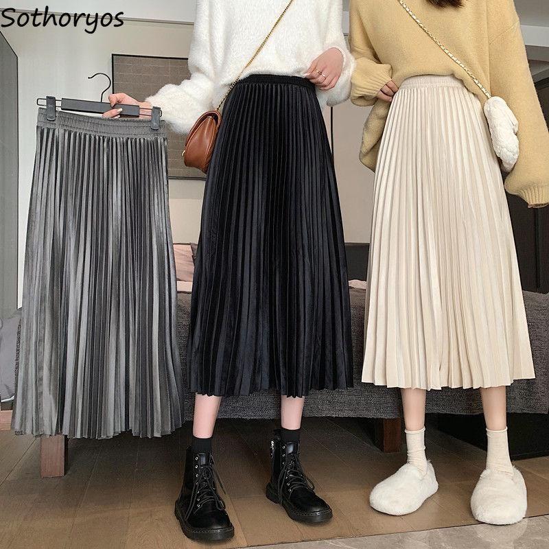 Etekler Kadın Orta Buzağı Katı Pileli Tüm Maç Moda A-Line Sonbahar Draped Kore Tarzı Basit Vintage Chic Harajuku Ulzg Ins