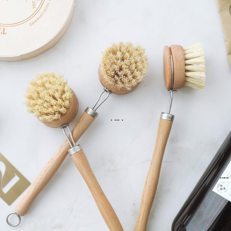 Mutfak Araçları Doğal Ahşap Uzun Saplı Pot Fırça Pan Çanak Kase Yıkama Temizleme Aracı HWB5956