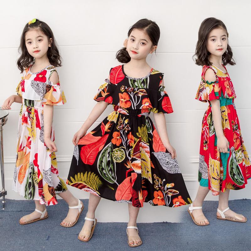 التجزئة / الجملة طفل الفتيات خارج الكتف الأزهار الأميرة اللباس الأطفال البوهيمي المصممين ملابس الاطفال بوتيك الملابس