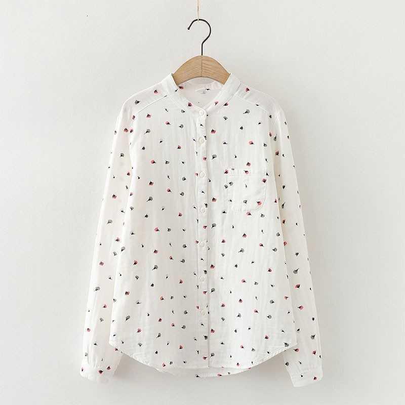 Frauen Blusen Hemden Frühling Herbst Kunst Stil Frauen Langarm Lose Weißes Hemd 100% Baumwolle Blumendruck Casual CO88