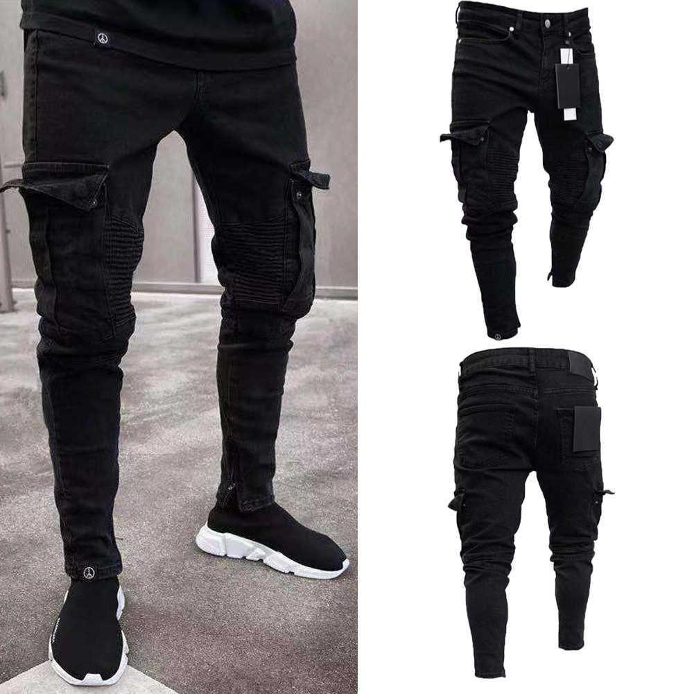 Moda Siyah Jean Erkekler Denim Sıska Biker Kot Yokulmuş Yıpranmış Slim Fit Cep Kargo Kalem Pantolon Artı Boyutu S-3XL