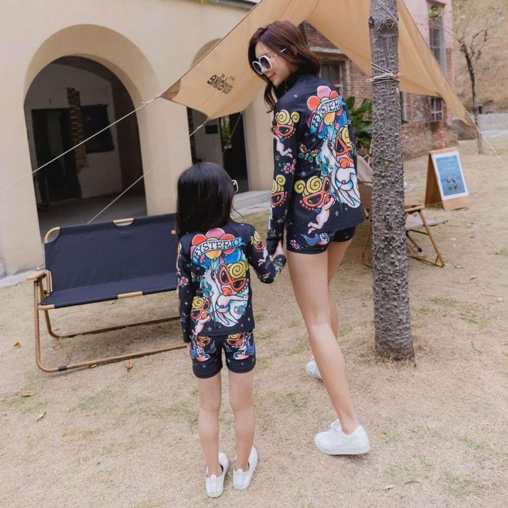 Enfants VêtementsGaoding 2021 Marque Été Marée de marée pour enfants Imprimé Rose Swimsuit de maillot de bain à deux pièces
