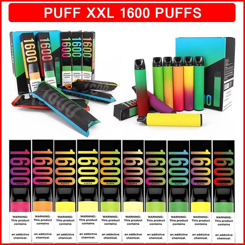 퍼프 XXL 1600 퍼프 E 담배 일회용 vape 펜 장치 43 색 650mAh 배터리 4ml catridge 포드 vapes