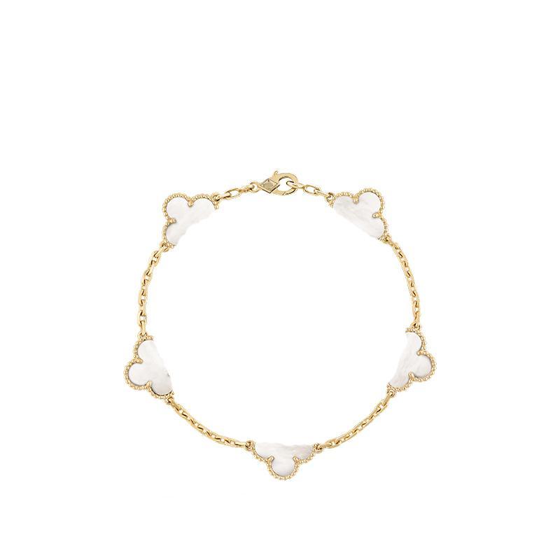 Klasik 18 K altın dört yapraklı yonca bilezik link kadınlar için moda ve yüksek kaliteli