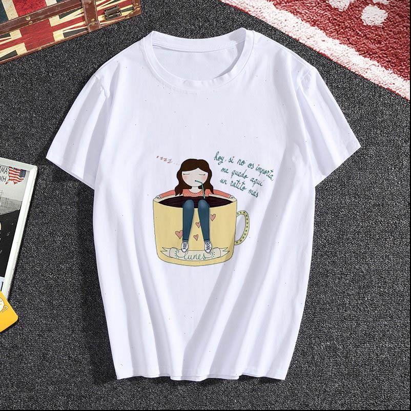 Bayan Giyim Tops Yaz Kişilik Kahve Kız Tshirt Harajuku Estetik Ince Bölüm Beyaz Kadın T Gömlek