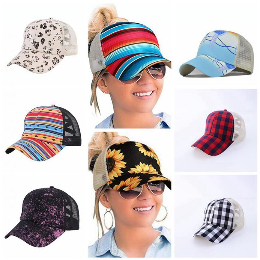 Girasole Criss Cross Baseball Cappelli da baseball 16 Stili Plaid Cactus Mesh Hallow Out Caps High Messy Buns Ponycaps Party Cap OOA8504