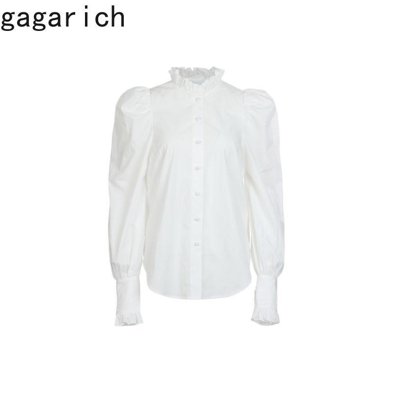 Mulheres Camisas Primavera Outono Coreano Doce Temperamento Meninas Moda Collar Stand-up Puff Manga Solta Branco Blusas 210506