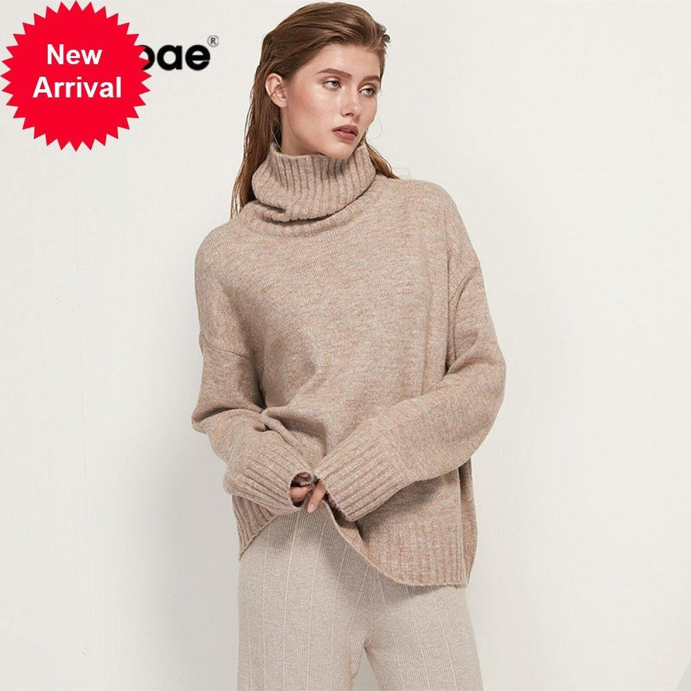 Aachoae Autumn Winter Women Knitted Turtleneck Cashmere Sweater 2021 Casual Basic Pullover Jumper Batwing Long Sleeve Loose Tops