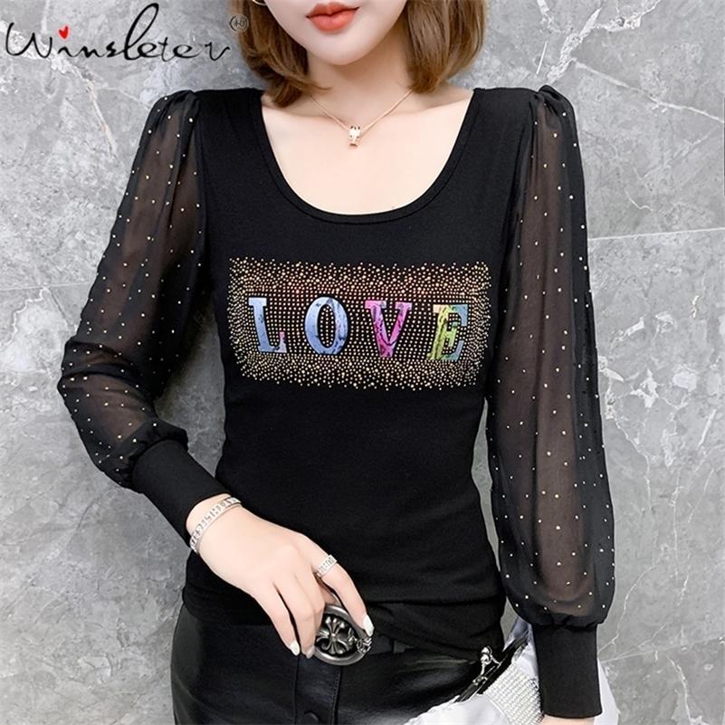 Femmes Tshirt Fashion Femme T-shirt Diamonds Lettre Inscription Love Summer Slim Tee Tops Coton 210317