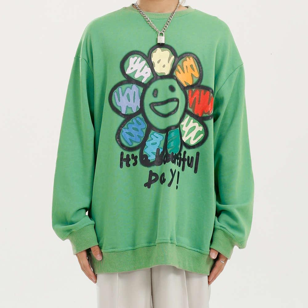 Primavera Autumn Maschio Donne Donne Fiori Lettera Stampa Green Felpa con cappuccio Felpa Uomini Streetwear Hip Hop Skyshirt pullover sfuso