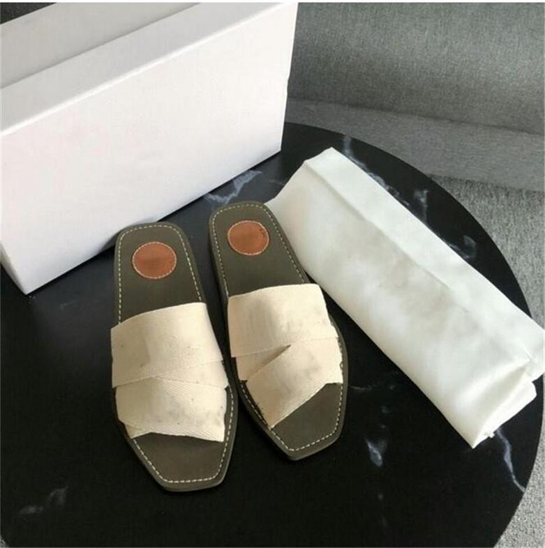 2021 Newest Branded Women Woody Mules Fflat Slipper Deisgner Lady Lettering Fabric Outdoor Leather Sole Slide Sandal size 35-42 uu