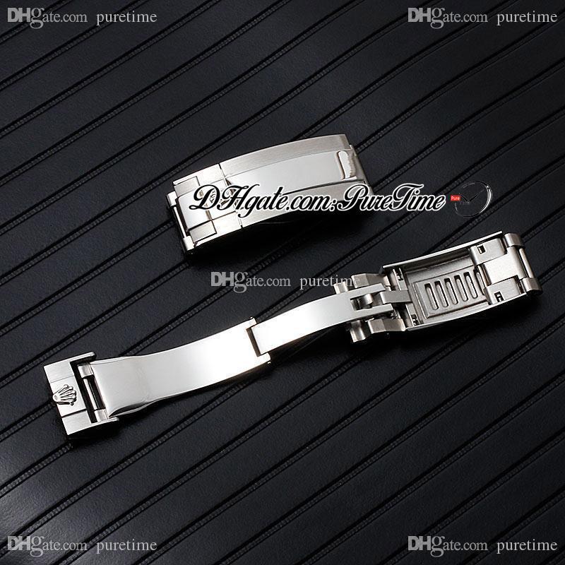 N V10 V11 V12 116610 126610 114060 Alt 904L Paslanmaz Çelik Bilezik Geri Çekilebilir Ve Uzun Katlanır Toka Watch Band Aksesuarları Puretime A1