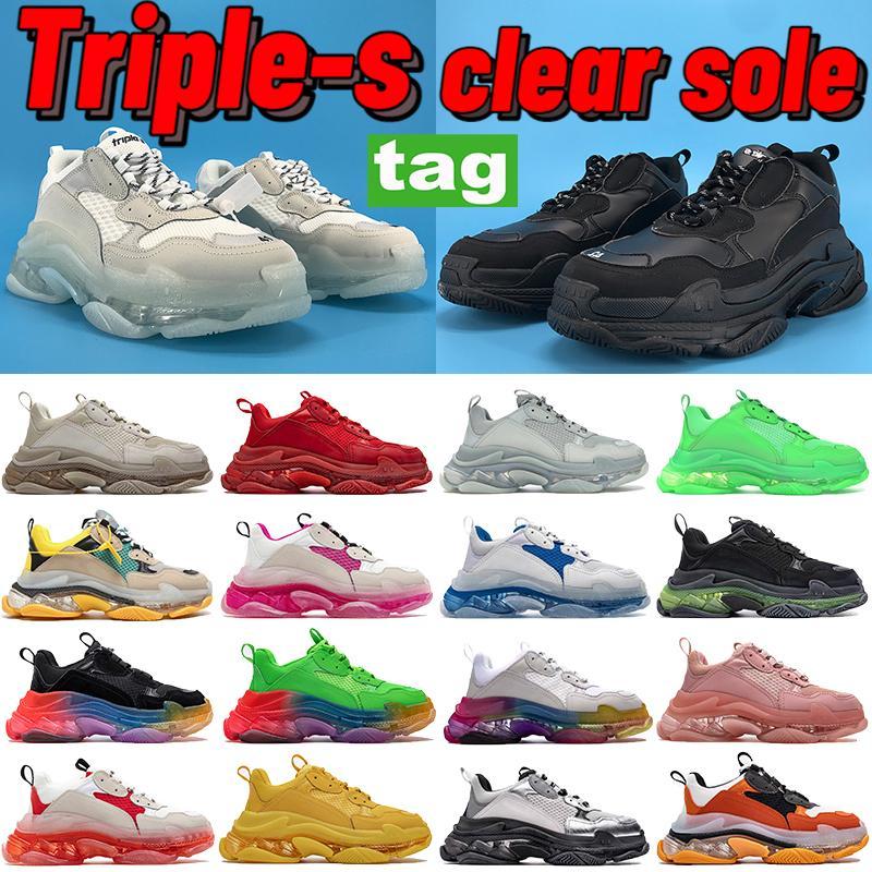2021 Paris Triple-S Clear Sole повседневная обувь белый черный серый военно-морские люди женщины папа платформа рост роста бежевых тренеров кроссовки