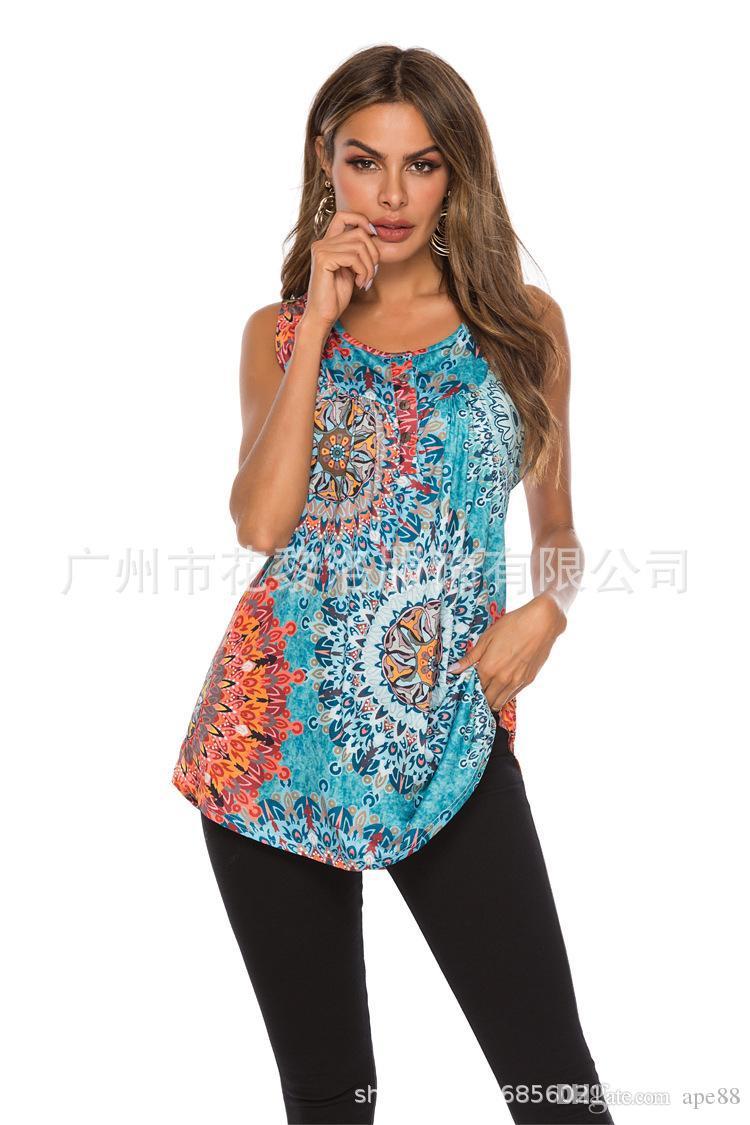 2020 Fashion Women's Tops Floral Print Button V-neck Sleeveless Violence Cross-border Leisure T-Shirt Cheap Sexy Lady Summer Women&#039