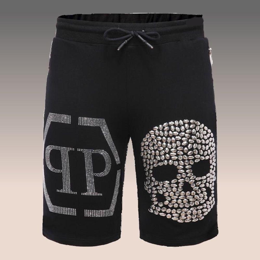 Летние спортивные шорты оборудования череп Slim Fit Capris серый белый горячий сверл PP ультрамодные мужские повседневные брюки