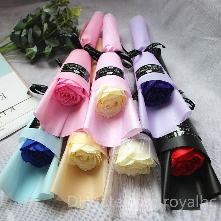Flor de jabón de rosa de tallo de soltero flores artificiales romántica simulación creativa de san valentín fiesta de cumpleaños día de la madre