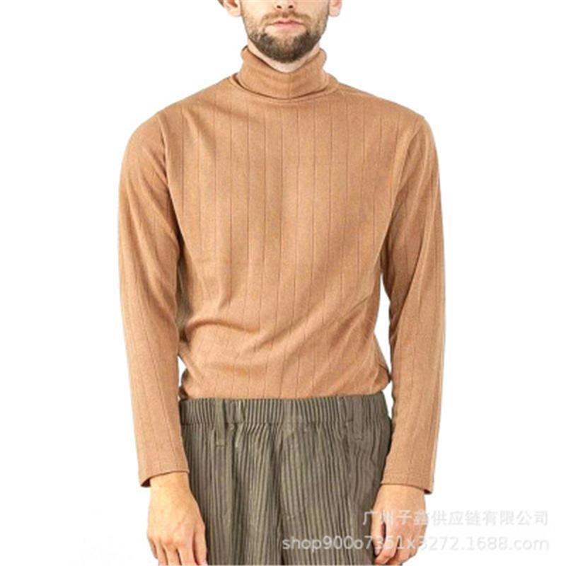Herren High Hals T-Shirt Mode Occident Trend Stil Solide Farben Langarm Casual Strick Tops T Shirts Frühling Männlichen Neue Slim Bottoming Tshirt