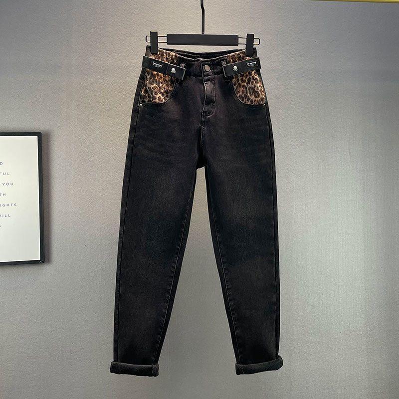 Molleton épais jeans femmes 2021 nouvelle queue hiver chat lâche chats étirement dommage livre blanc denim broek étudiants jean
