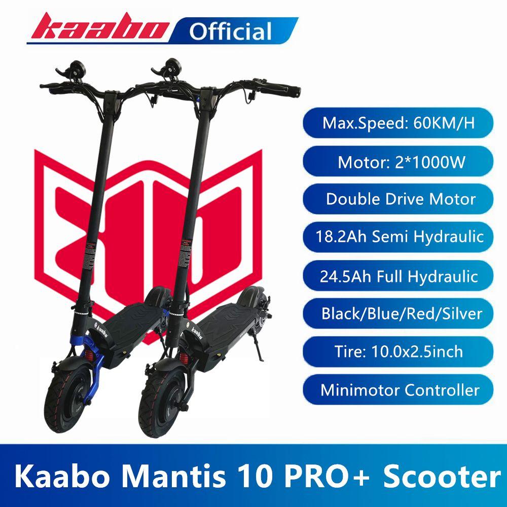 الأسهم الاتحاد الأوروبي الأصلي KAABO MANTIS 10 برو زائد سكوتر 60 فولت 18.2AH 24.5AH 2000W محرك مزدوج كهربائي كهربائي LG Samsung Battery Pro + طوي اثنان عجلة بما في ذلك ضريبة القيمة المضافة