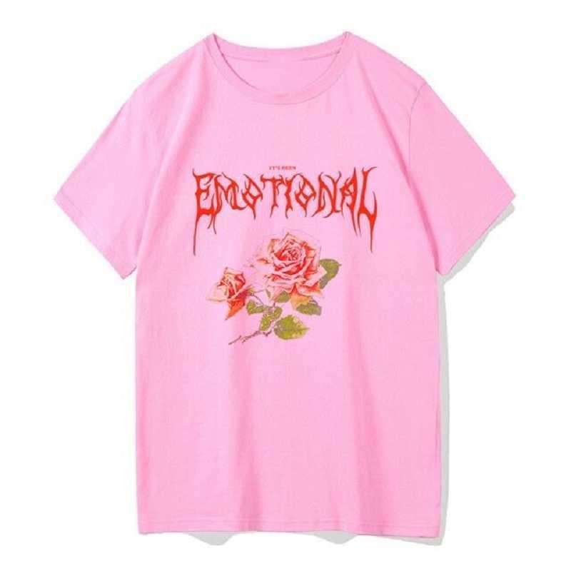 Çiçek Baskı Punk Streetwear Boy Duygusal Gül Kadın T Gömlek Goth En Grunge Estetik Giyim Kadın T-Shirt
