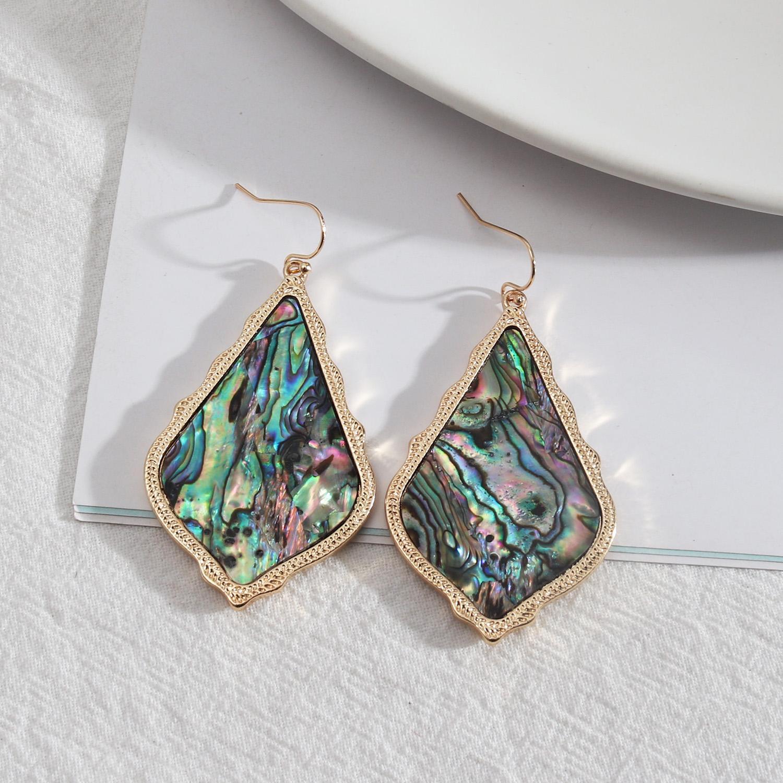 Teardrop Dangle Earrings Geometry Alloy Abalone Shell Wholesale Ear Chandelier Holidays Party Accessories For Women Girls