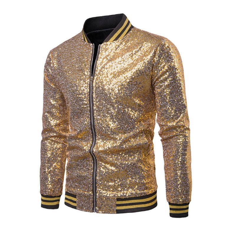 Inverno autumen homens casaco de beisebol jaqueta zíper outwear sobretudo de sobretudo noturno fase do partido s-xxl