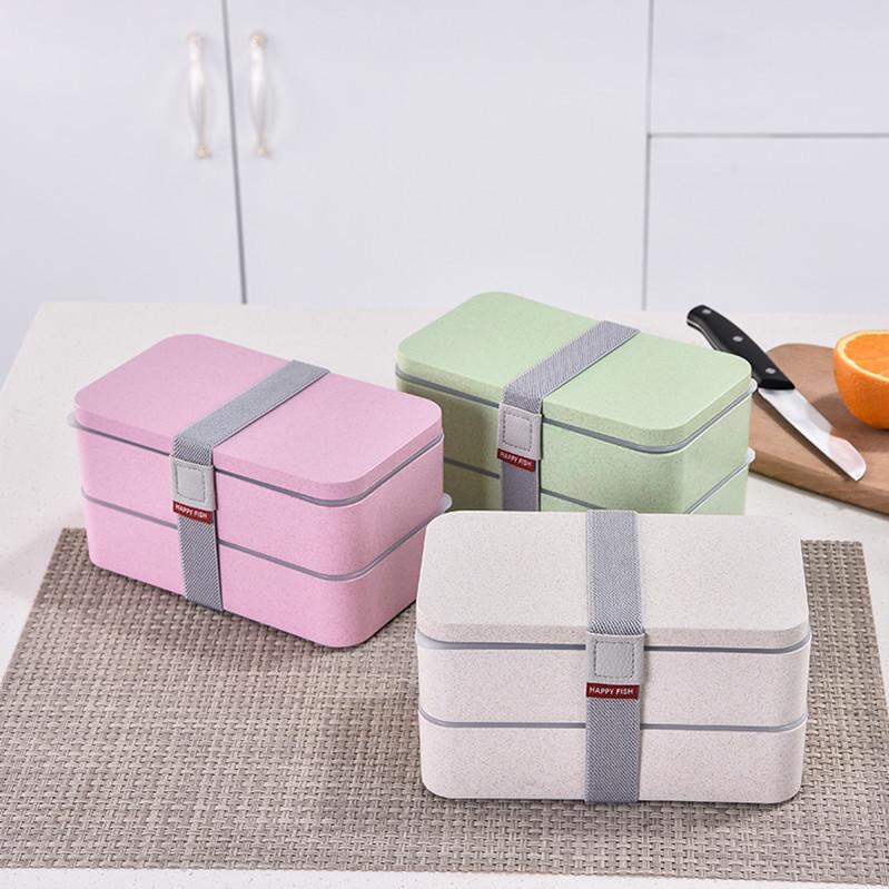 Doppelschicht-Lunchbox Tragbares Weizen-Strohmaterial Umweltfreundliches Lebensmittel-Container-Student