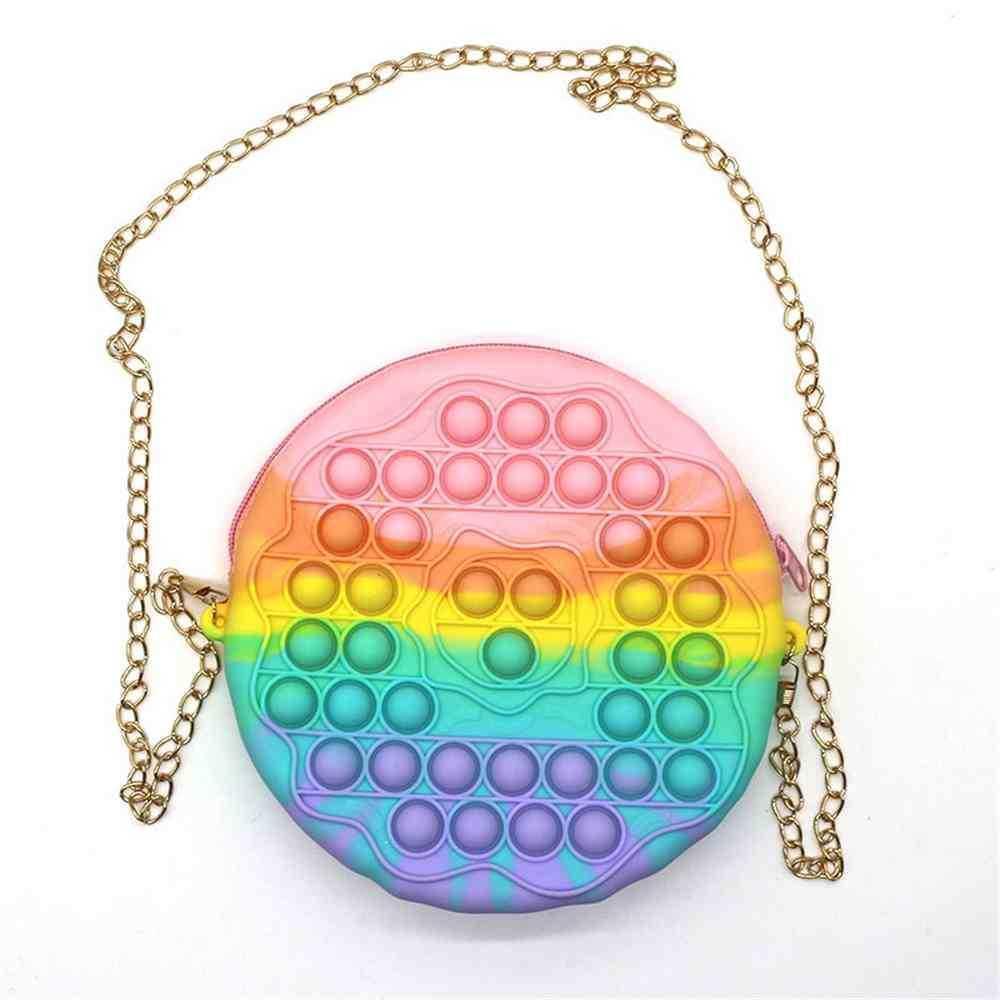 Tinte tinte lindo niño pionero bolso hombro arco iris grils conejo mensajero bolsos descompresión moda poppers burbuja estudiante mochila g93xeph