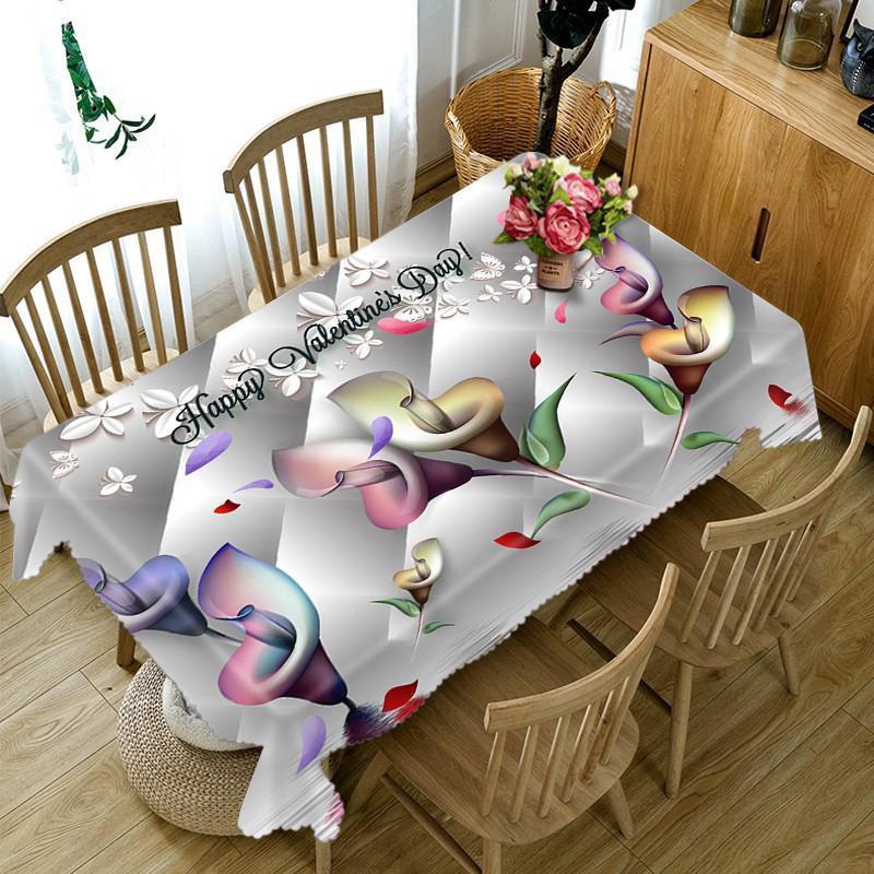 3D masa örtüsü sabah çiçek ve kırmızı gül desen su geçirmez kalınlaşmak dikdörtgen yuvarlak masa örtüsü düğün için