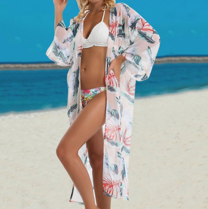 Beach Wear Ladies Fashion Leaf Print Fresh Chiffon Sun Cover Up Mujer Baño Traje Vestido de verano 2021 # G2 Traje de baño de mujeres