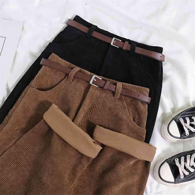 Lucyever Women's Corduroy Wide Leg Pants Vintage High Waist Straight Trousers Female Autumn Korean Loose Casual 210922