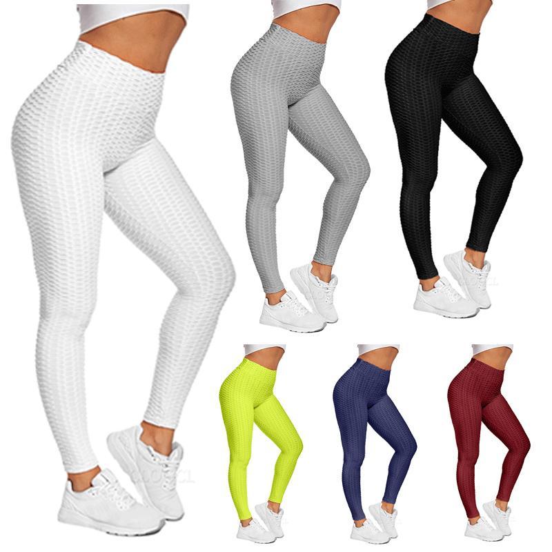 Cloocl Tiktok Tayt 2021 Yaz Moda Jakarlı Koşu Fitness Spor Sıkı Bayanlar Katı Renk Push Up Yüksek Bel Yoga Pantolon