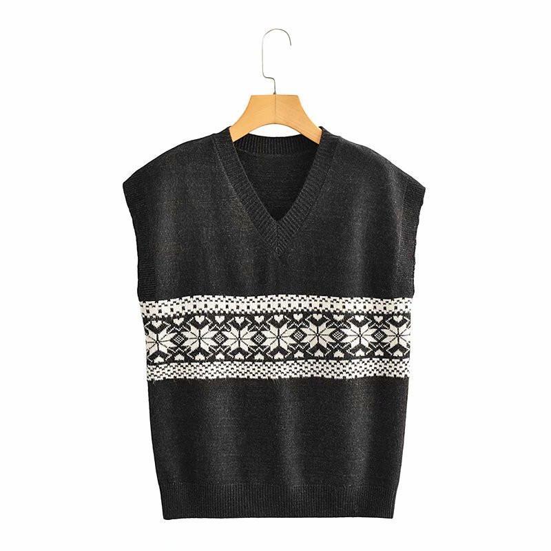 Frauenpullover Evfer 2021 Frauen Mode Jacquard Print Balck Sleeveless Gestrickte Pullover Weste Damen Casual V-Ausschnitt Pullover Mädchen Jumper C
