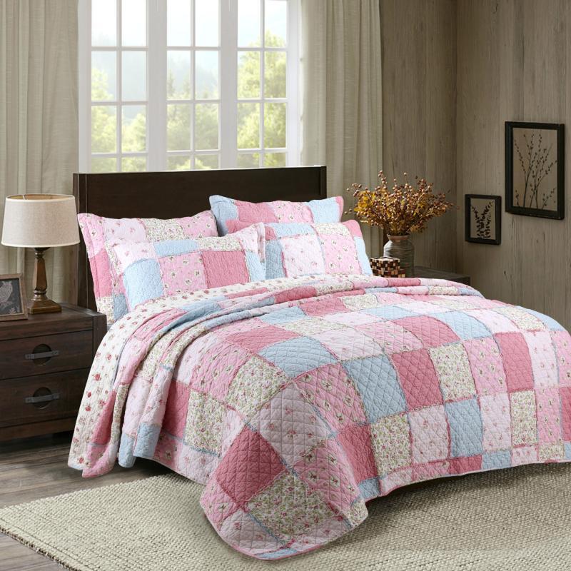 Bettdecken Sets Top Qualität 100% Baumwolle Boutis Patchwork Sommer Quilt Rosa blaue gesteppte Bettdecke Floral Klimaanlage Edredon Dekb