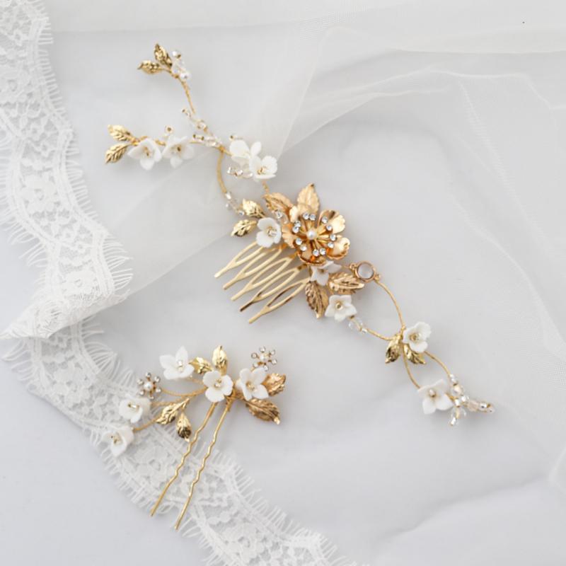 Vintage Altın Tokalar Çiçek Yaprak Saç Combs Klipler Rhinestones Kafa Adetleri Gelinler Için Kadın Düğün Aksesuarları Gelin Takı Tokalar