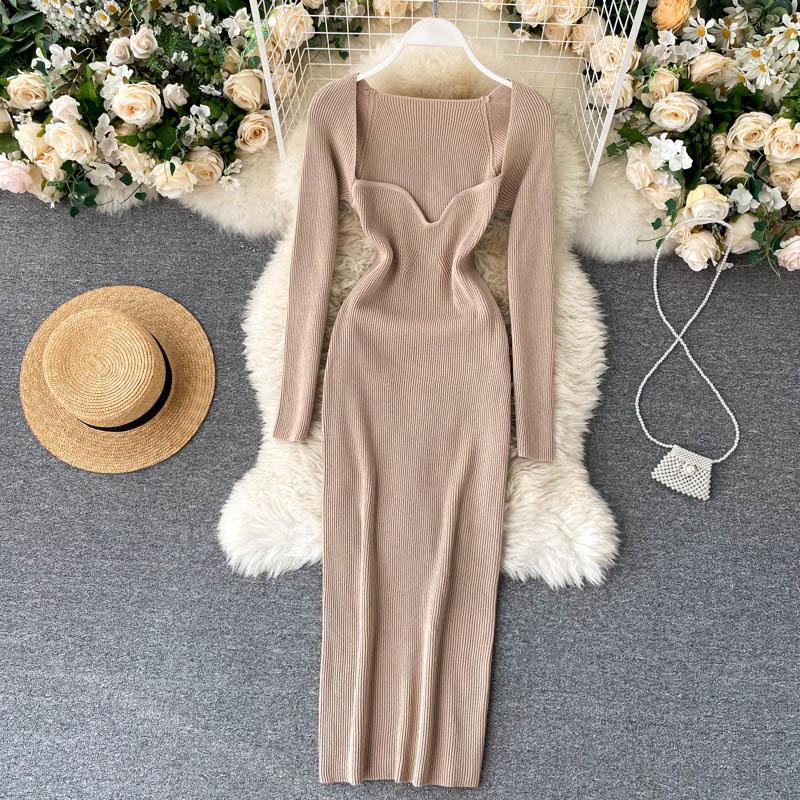 Платья Croysier для 2021 Сексуальный Брелереный Ребристый Вязаный Бодикон Одиночные Женщины Зима С Длинным Рукавом MIDI Свитер Одежда одежды