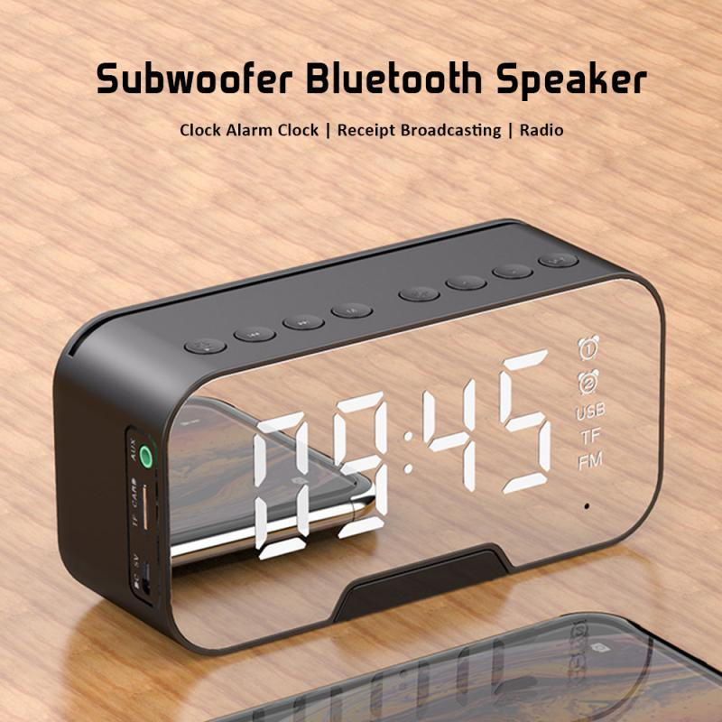 G10 Bluetooth5.0 Speaker Wireless Column Subwoofer Music Center Portable 3D Stereo FM/TF/AUX With Mirror Alarm Clock 5 Color