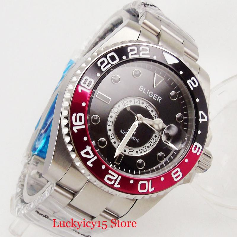 Erkekler Izle Kendini Sarma Hareketi 43mm Gümüş Renk Kılıf GMT Fonksiyonu Safir Cam Paslanmaz Çelik Bilezik Saatı