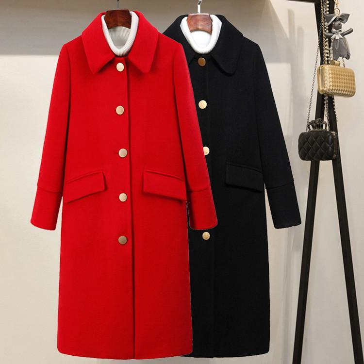 Women's Wool & Blends Fashion Turn-down Collar Winter Coat Women Elegant Single Breasted And Jacket Solid Autumn