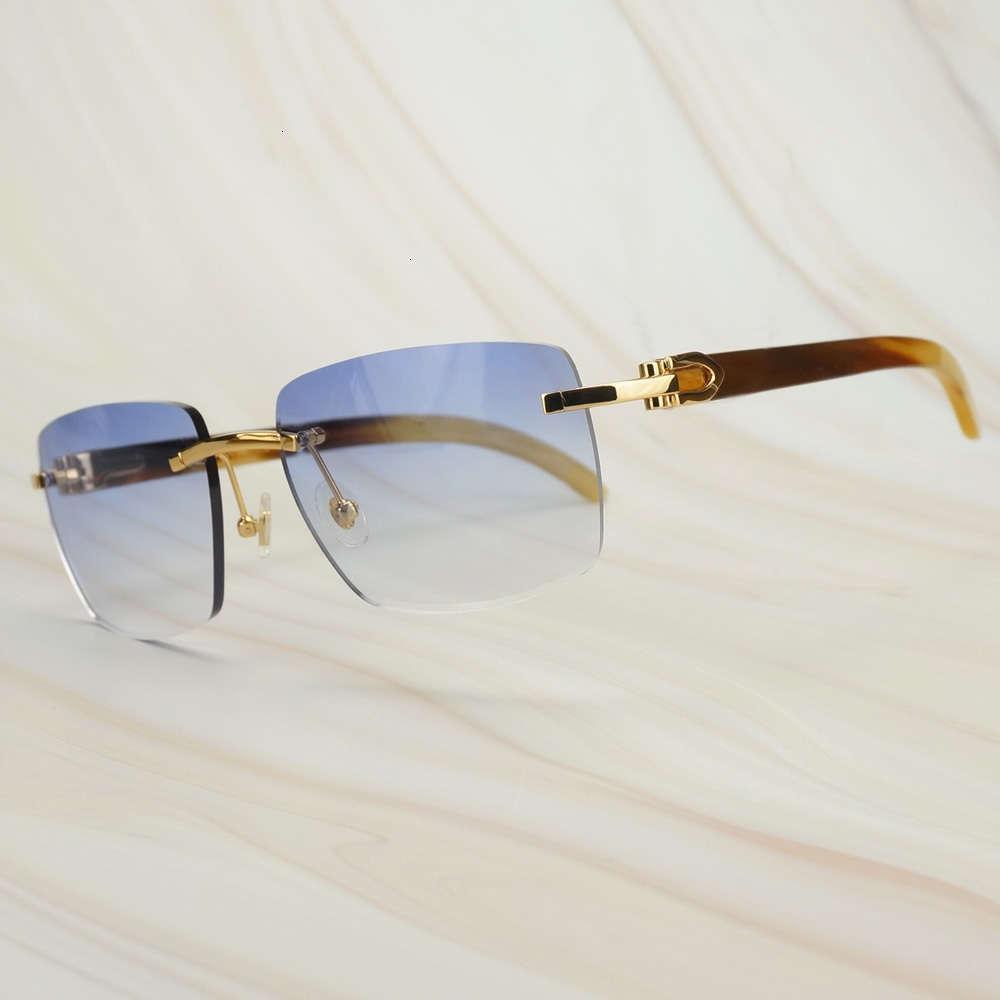 Gafas de sol cuadradas de gran tamaño retro IMPRESIÓN CRUDA Gafas de sol de búfalo para hombres Carter Mens Sun Glasses Brand Designer Shadesaa