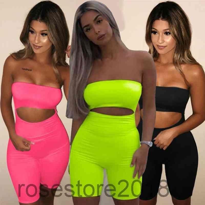 2021 여름 새로운 여성 Jumpsuit 디자이너 섹시 한 어깨 맞는 엉덩이 리프팅 레깅스 오픈 onesies 패션 유방 랩 반바지 슬림 rompers