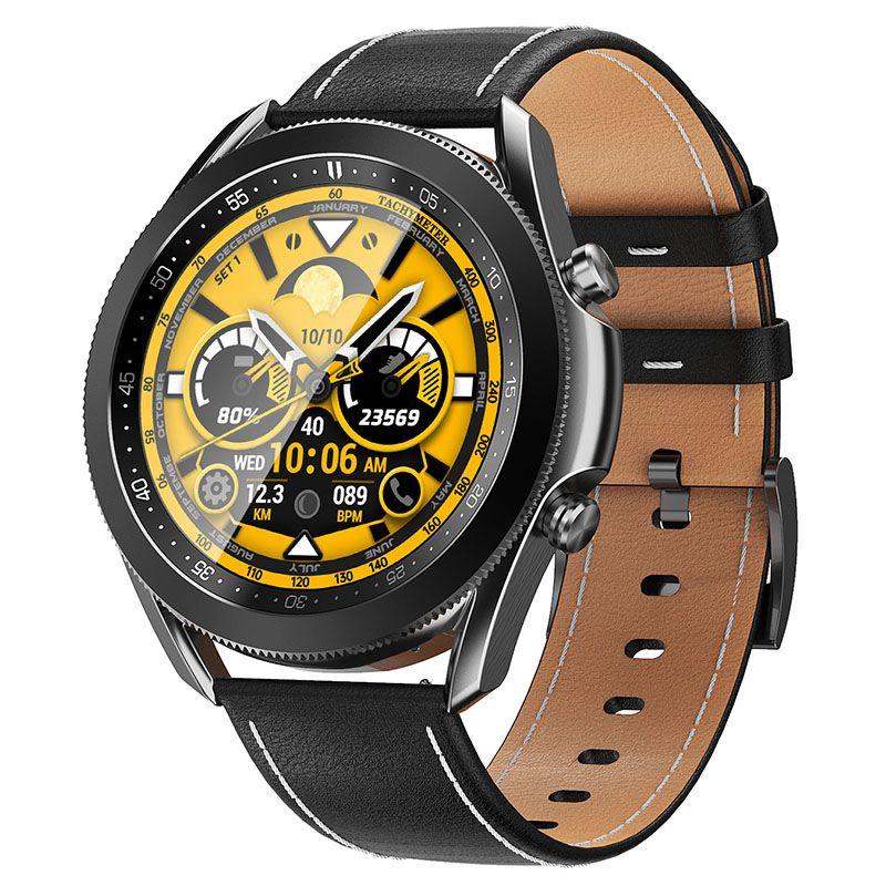 W3 Smart Watch Uomo Donna Tocco pieno con cinturino in metallo in pelle Bluetooth Call Musica orologio Allarme Allarme Meteo personalizzato Immagine personalizzata Palestra Tracker Bambini SmartWatch per Android IOS