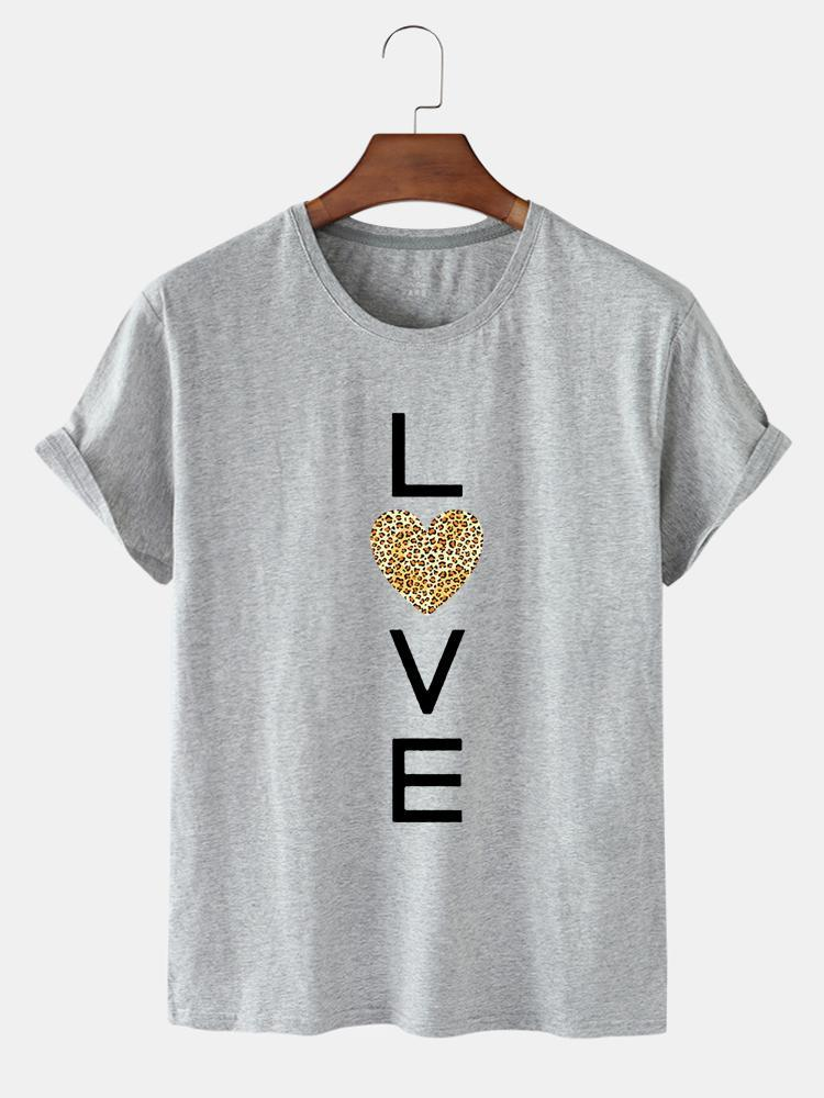 Frühling und Sommer Persönlichkeit Trend Atmungsaktive Liebesbriefe drucken Lose Kurzarm Rundhals T-Shirt für Frau Frauen