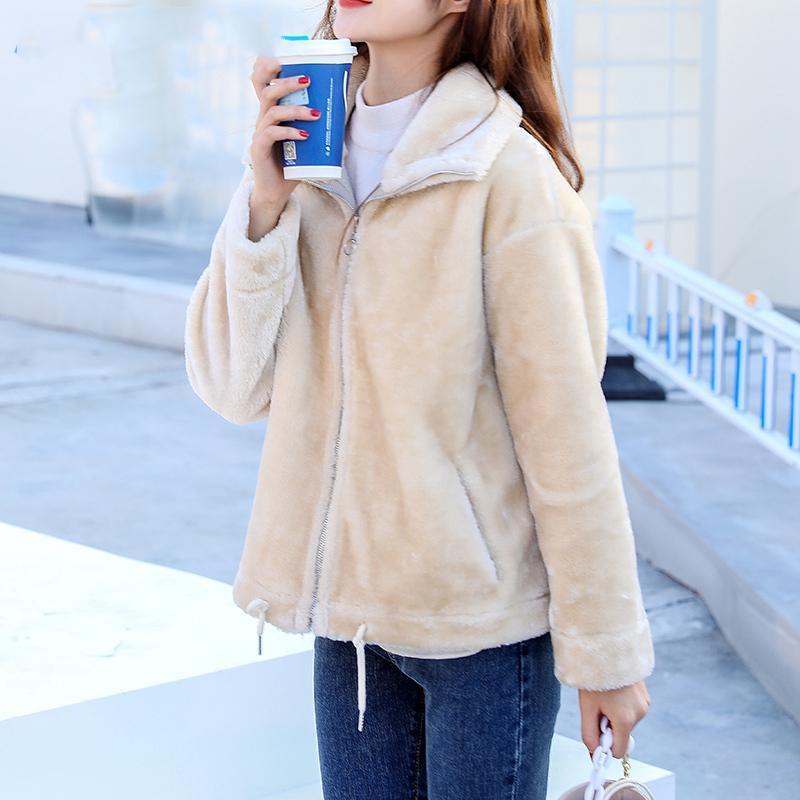 Women's Fur & Faux Winter Jacket Fashion Thicken Warm Fluffy Zipper Coat Female Korean Street Pocket Furry Outerwear