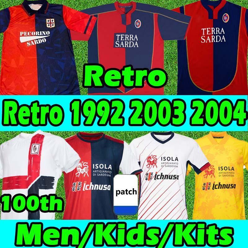 Cagliari Calcio Retro Soccer Jerseys 1990 91 92 Zola # 10 Gobbi 2003 04 05 Joao Pedro Godin Nandez Nainggolan 20/21 100 주년 기념일 남성 키트 축구 셔츠