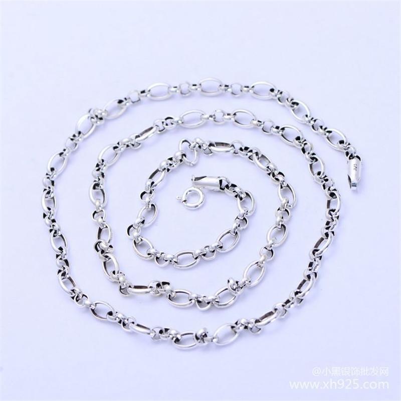 Gümüş Temel Zincirler Yuvarlak Hollow Kolye Klasik Takı Kadınlar Kemik Zinciri Adam Nacklace Yılan Tayland